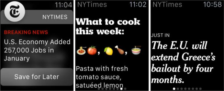 New York Times single-sentence article format designed for the Apple Watch screen