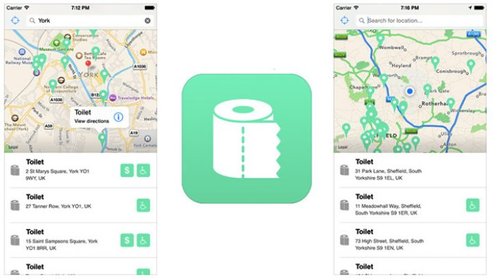Flush Toilet Finder for iOS : find public restrooms anywhere with your iPhone