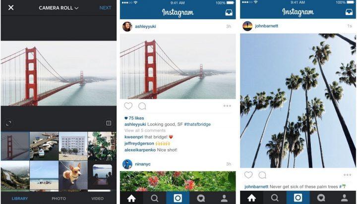 Instagram opens to landscape and portrait image ratios