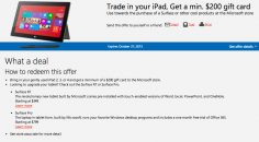 Microsoft iPad 200$ trade-in promo for Surface RT and Surface Pro purchase